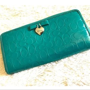 Coach Teal/ Turquoise Patent Leather Wallet